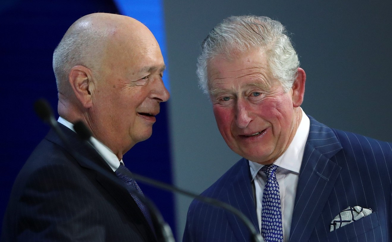 The Prince of Wales and Klaus Schwab at Davos in January 2020